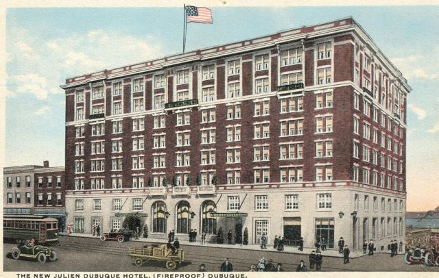 Historic postcard of the Hotel Julien Dubuque